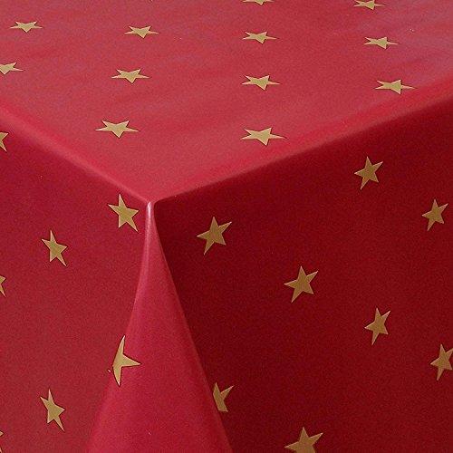 Wachstuch Sterne Rot Weiss Glatt Weihnachten · Eckig 90x180 cm · Länge wählbar· abwaschbare Tischdecke