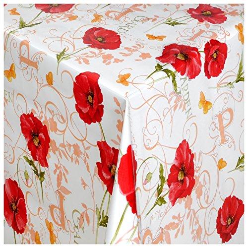 Wachstuch Tischdecke Gartentischdecke mit Fleecerücken Gartentischdecke Pflegeleicht Schmutzabweisend Abwaschbar Mohn-Blume Weiss Rot 200x 140 cm - Größe wählbar