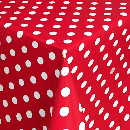 Wachstuch Tischdecke Gartentischdecke mit Fleecerücken Gartentischdecke Pflegeleicht Schmutzabweisend Abwaschbar Punkte Rot Weiss 100x 140 cm - Größe wählbar