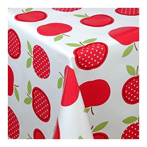 Wachstuch Tischdecke Wachstischdecke Gartentischdecke Abwaschbar Meterware Länge wählbar Red Apples Äpfel Rot Weiß 623-02 180cm x 140cm