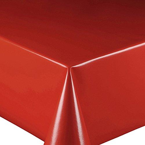 Wachstuch UNI Rot Glatt · Eckig 130x160 cm · Länge Farbe wählbar LFGB · abwaschbare Tischdecke Gartentischdecke Einfarbig