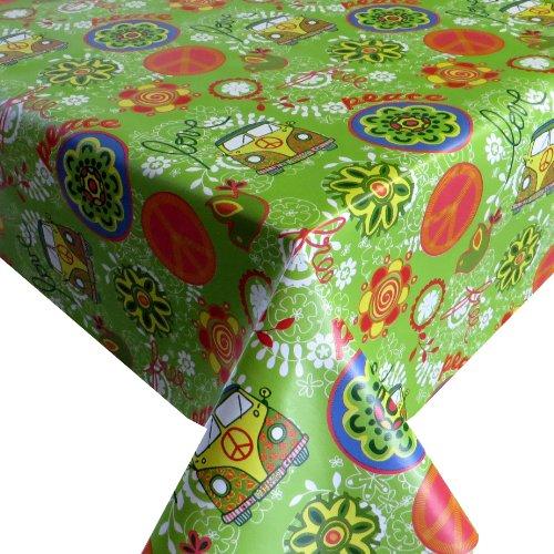Wachstuch Breite 130 cm Länge wählbar - V W Bulli Grün Flower Power Lebensmittelecht - ECKIG 130 x 100 bzw 100x130 cm abwaschbare Tischdecke Wachstücher Gartentischdecke