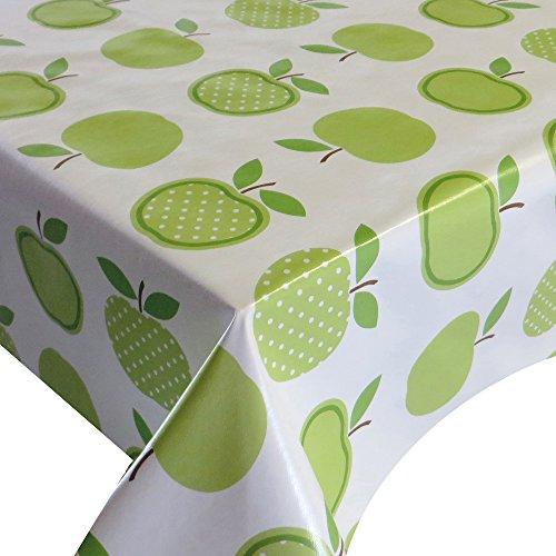 Wachstuch Breite 140 cm Länge wählbar - Apfel Erdbeer Grün Weiss Lebensmittelecht - 140 x 140 bzw 140x140 cm abwaschbare Tischdecke Gartentischdecke
