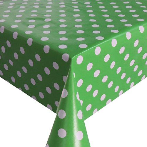 Wachstuch Breite 80 cm - Farbe Länge wählbar - Punkte Grün Weiss Lebensmittelecht - Größe ECKIG 80 x 140 bzw 140x80 cm abwaschbare Tischdecke Glatt Gartentischdecke