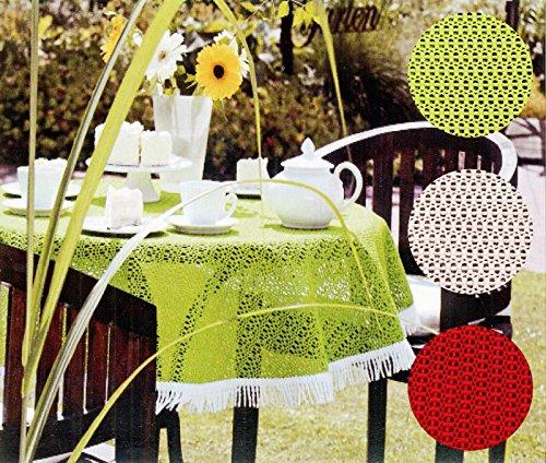 heimtexland friedola OUTDOOR Tischdecke rund 160 cm WETTERFEST RUTSCHFEST Gartentischdecke in lemon grün mit Fransen Camping Garten Tischdekoration Typ444