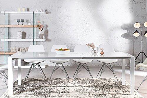 Casa Padrino Moderner Design Esstisch Weiß Hochglanz - Ausziehbar 130-170 - 215 cm Esszimmer Tisch