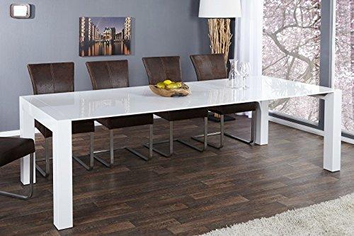Casa Padrino Moderner Design Esstisch Weiß Hochglanz - Extra Lang - Ausziehbar 180-270 cm Esszimmer Tisch