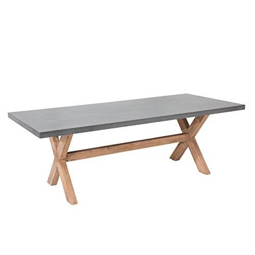 Design Esstisch CEMENT Akazie Massivholz 220cm In- und Outdoor Beton-Optik