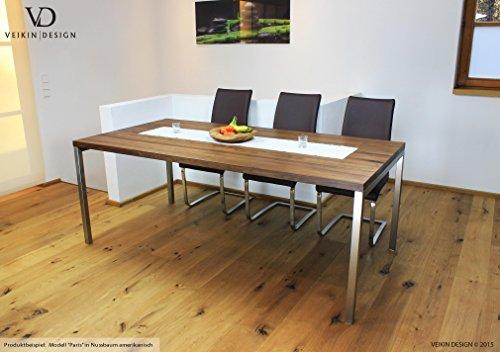 Esstisch Nussbaum amerik massiv Paris 180 x 90 cm Designer Tisch Massivholz mit Edelstahl Tischgestell Holztisch Metall Stahl Premium Esstisch Design Esstisch Exklusiv