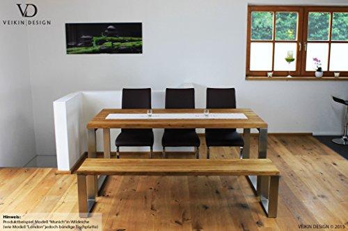 Tischgarnitur Exklusiv - Eiche Massivholz Serie London mit Edelstahl Gestell Tisch mit Bank 250 x 100 cm Holztisch massiv Tischgruppe mit Sitzbank Premium Tisch-Set Design Sitzgarnitur Esstisch mit Bank