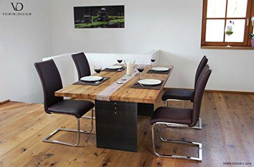 Esstisch Manhattan Eiche massiv 200 x 100 cm Designer Tisch Massivholz mit Rohstahl Tischgestell Holztisch Metall Stahl Premium Esstisch Design Esstisch Exklusiv