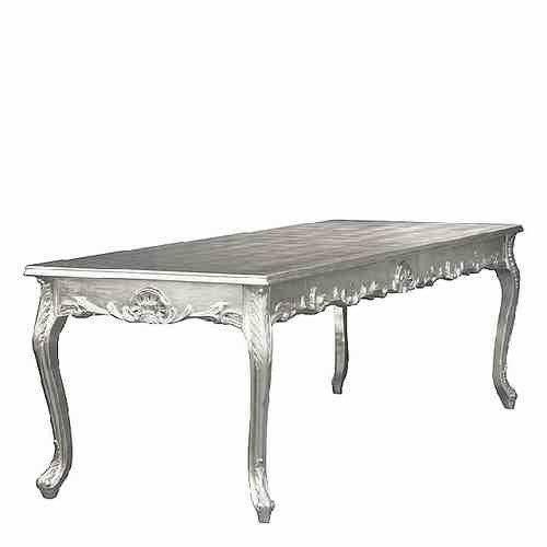 Casa Padrino Barock Esstisch Silber 160cm - Esszimmer Tisch - Möbel Esstisch
