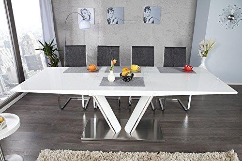 Casa Padrino Moderner Yacht Design Esstisch WeißMetall Hochglanz Ausziehbar 160-220 cm Esszimmer Tisch