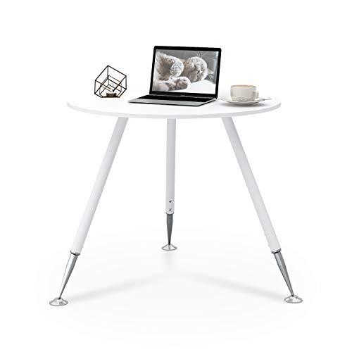 DEVAISE Rund Esstisch Esszimmer Tisch Küchentisch Beistelltisch Büro Konferenztisch Holz Ø 80cm Weiß