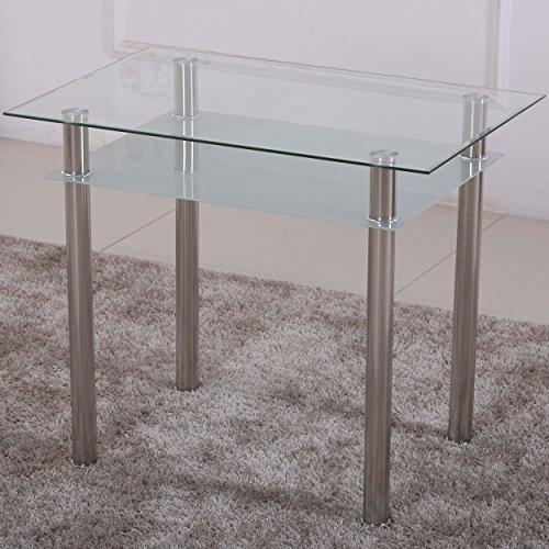 Esstisch 90x60 Küchentisch Esszimmer Tisch Chrom Speisetisch Klar-Glas mit Ablage - Satiniert