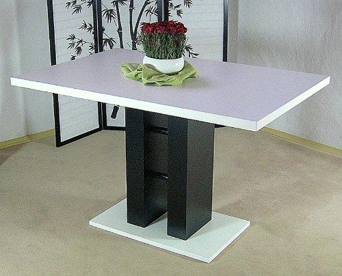 Säulentisch weiß schwarz Esstisch Esszimmertisch Tisch Küchentisch Esszimmer neu