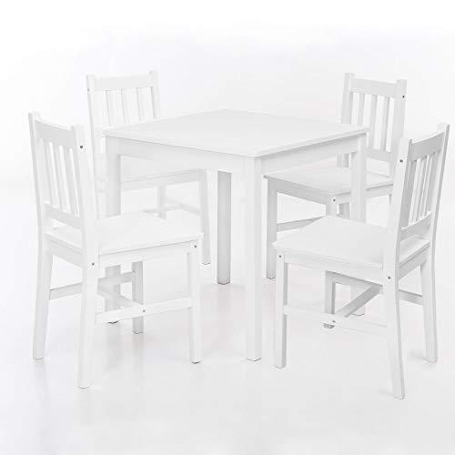 Wohnling Esszimmer-Set Emil 5 teilig Kiefer-Holz weiß Landhaus-Stil 70 x 73 x 70 cm  Natur Essgruppe 1 Tisch 4 Stühle  Esstischset Tischgruppe 4 Personen  Esszimmergarnitur massiv