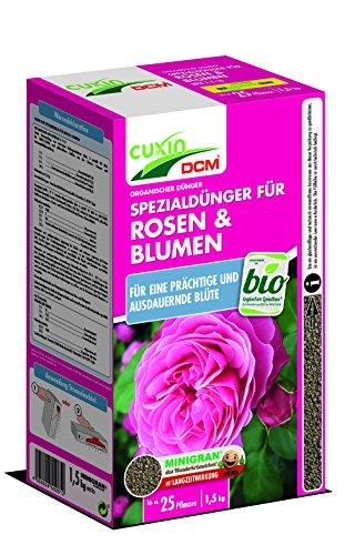 Cuxin BIO Rosendünger mit 3 Monaten Langzeitwirkung  auch für alle Blumen und Clematis  rein organischer Naturdünger 15kg  NPK 7-7-10