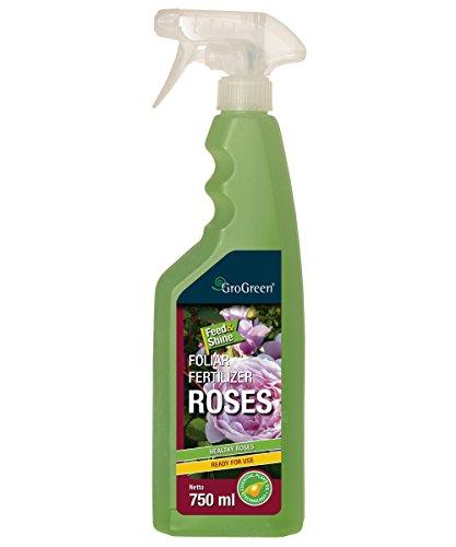 GroGreen Feed Shine Rosen 750 ml Rosendünger Flüssig Gebrauchsfertig Sprühflasche Bioaktiv Weniger Fungizide nötig Genießen Sie gesunde und vitale Rosen