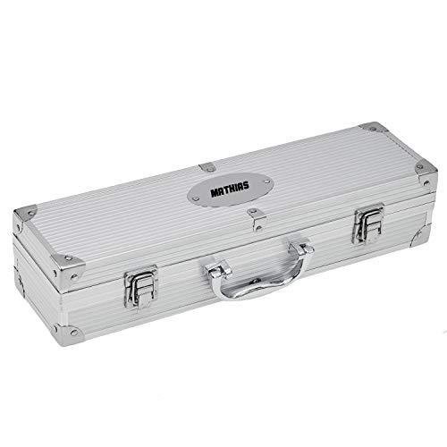 Geschenkede Personalisierbares Grillbesteck Set mit Gravur 3-teilig - Grillbesteck im Koffer BBQ Geschenk für Männer als Personalisierte Geschenke Grillen