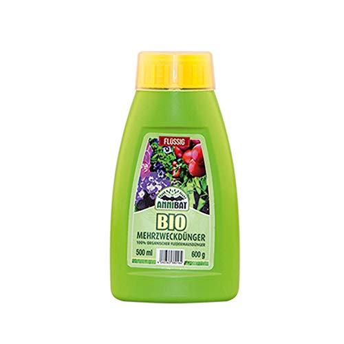 AnniBat Bio Dünger flüssig – 100 biologischer organischer Dünger Guano für Obst Gemüse und Zierpflanzen TOP geeignet – Universaldünger flüssig für Profis – 500 ml Langzeit Dünger