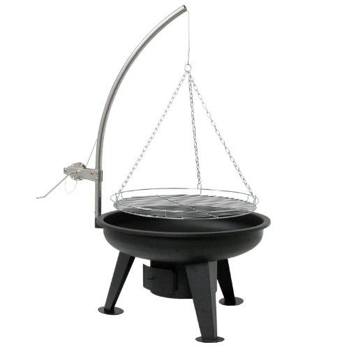 BBQ-TORO Schwenkgrill  Ø 64 cm  Holzkohle Grill mit Grillrost  Grillgalgen mit Kurbel  schwarz  Standgrill