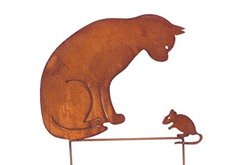 Blümelhuber Gartenstecker Katze  Maus 50cm höhe Metall Rost Gartendeko Edelrost