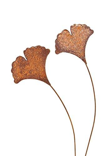 Bluemelhuber 2er Set Gartenstecker Ginkgoblatt Metall Rost Gartendeko Edelrost