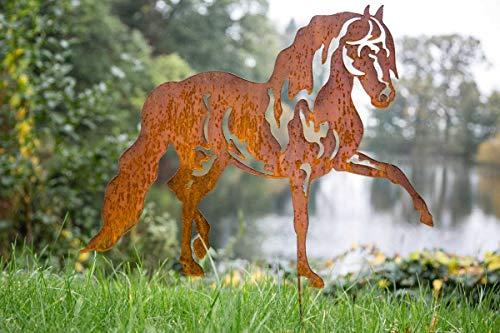 KUHEIGA Gartenstecker Pferd Edelrost Rost H 70cm Pflanzstecker Gartenstab Gartendeko Rost