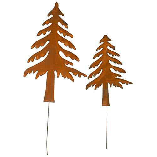 RM E-Commerce Weihnachtsdekoration Gartendeko Gartenstecker Tannenbaum aus Edelrost Metall 2er Set