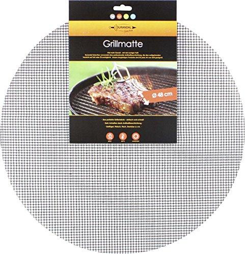 Durandal Grillmatte rund 48 cm  Wiederverwendbare BBQ Grillmatte für Gasgrill Holzkohlegrills mit Antihaftbeschichtung  Ideales Grillrost Zubehör