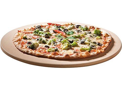 Santos Premium Pizzastein - rund 365 cm Ø - bis 1000 Grad - für Gasgrills Backofen Holzkohlegrills Brotbackbackstein geeignet