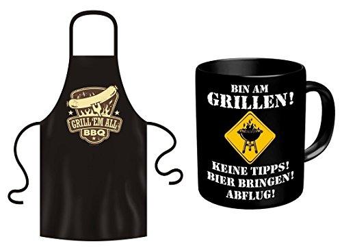 Fun Grillschürze Grill em all  Tasse Bin am Grillen als Geschenk Set