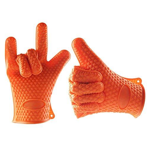 Silikon Ofen Handschuhe BBQ Pad Extreme hitzebeständig Wasserdicht schmutzabweisend rutschfest KücheOutdoor Hand Schutz für Küche Kochen Backen Grillen Grill Kamin Multi Farbe zufällige Lieferung