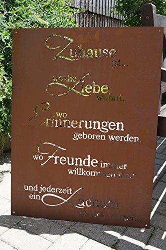 Ferrum Edelrost Tafel Zuhause 80x60cm Spruch Garten Metall Rost Schild Geschenk Deko