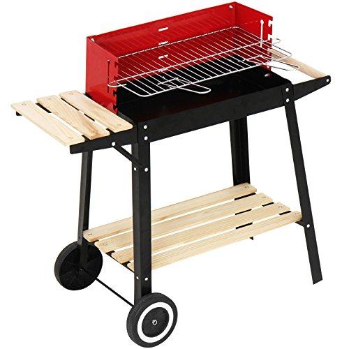 Broil-Master Grill BBQ Holzkohle Grillwagen mit Feuerbox - schwarz  rot 83 x 775 x 395 cm