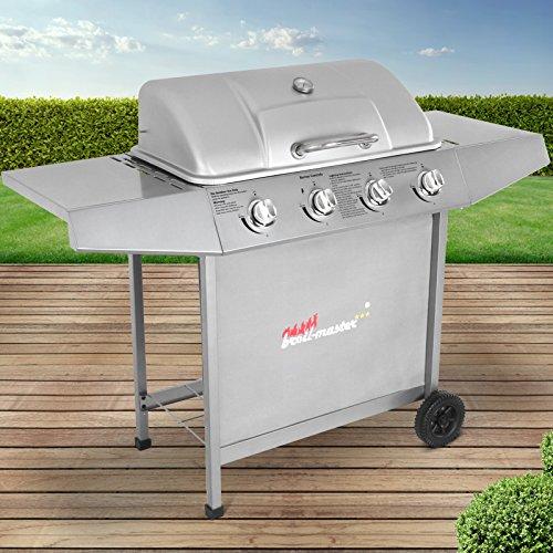 Broil-master BBQ Gasgrill  Edelstahl Deckel Grillstation mit 4 Brenner  Grillfläche 568 x 21 cm  Farbe Silber