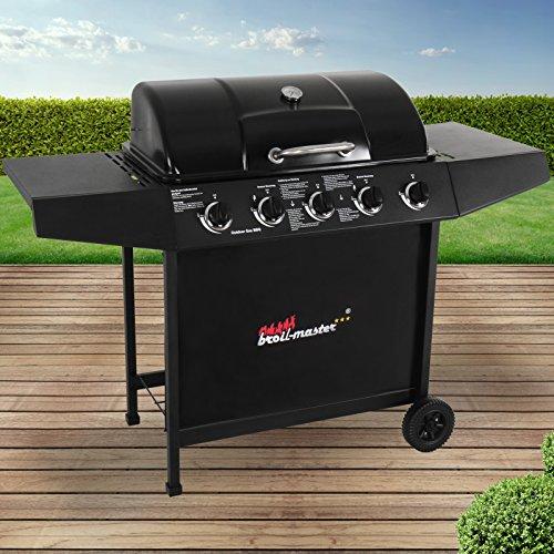 Broil-master BBQ Gasgrill  Edelstahl Deckel Grillstation mit 5 Brenner  Grillfläche 705 x 355  Farbe Schwarz