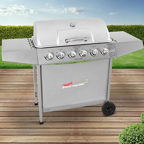 Broil-master BBQ Gasgrill  Edelstahl Deckel Grillstation mit 6 Brenner  Grillfläche 705 x 355 cm  Farbe Silber