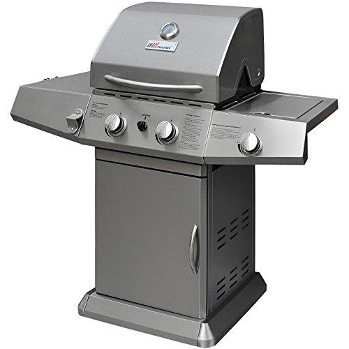 Broil master Gasgrill BBQ  Edelstahl Grillstation mit 2 Brenner  1 Seitebrenner und Grillhaube  Farbe Silber
