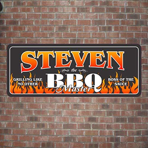 Evan332Eddie BBQ Master Personalisiertes Schild in Schwarz mit Tribal Flammen BBQ Wandschild Grillen Chef Personalisiertes Holzschild Geschenk