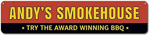 Metallschild Smokehouse Award Winning BBQ Sign Personalized BBQ Lover Name Sign Custom Metal Master Griller Kitchen Sign Aluminium Wall Art Deko Blechschild Weihnachten Geschenk