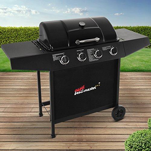 broil-master BBQ Gasgrill  Edelstahl Deckel Grillstation mit 4 Brenner  Grillfläche 645x355 cm  Farbe Schwarz