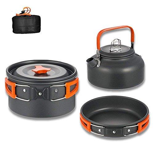 Aitsite Camping Kochgeschirr Kit Outdoor Aluminium Leichte Camping Pot Pan Kochen Set für Camping Wandern Orange