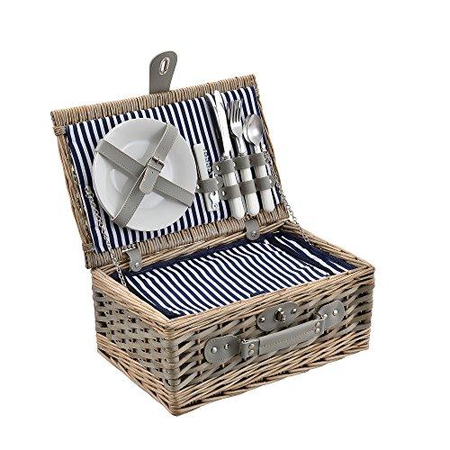 casapro  Picknickkorb für 2 Personen - Picknick-Set mit Kühltasche inkl Geschirr Besteck Korkenzieher und Gläser blau-weiß