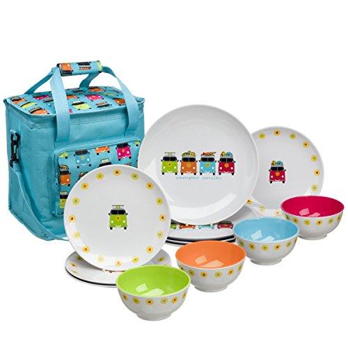 Camping Geschirr aus Melamin 12-teilig für Kinder mit Kühltasche Spülmaschinenfest für Picknick Kratzfest und Bruchsicher Geschirrset im kinderfreundlichem Design Kindergeschirr uIsoliertasche