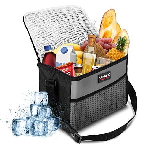 SANNE Kühltasche Picknicktasche Kühlbox Lunch Tasche isolierte Lebensmitteltransport für Büro Arbeit Outdoor Camping Reisen, Eistasche klappbar faltbar 10L,27x17x21cm(grau)
