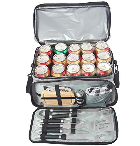 grilljoy Grillbesteck mit 15 Dosen Grauer isolierter Kühltasche - All-in-One BBQ-Picknick-Kühltasche - 12-TLG Edelstahl-Campinggrill-Set für Grillen im Freien - Prefect Geschenke für Männer
