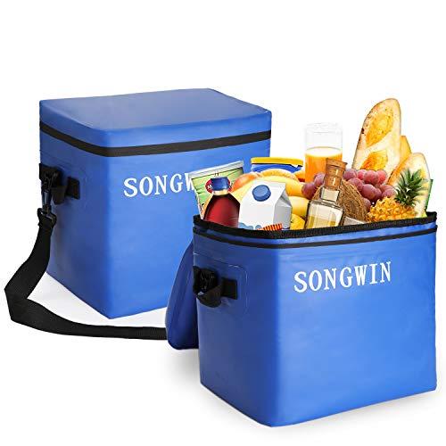 Songwin 28 L Groß Kühltasche PicknicktascheWasserdichter Reißverschluss und 100 auslaufsicherIsoliert Lunch Tasche für Büro Arbeit Outdoor Camping ReisenSchwarzBlau Blau