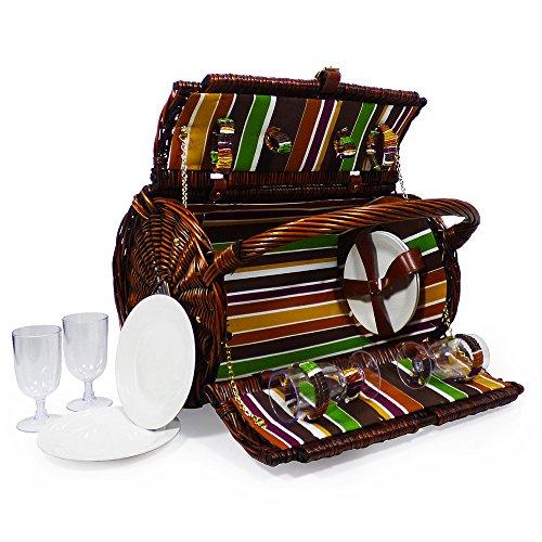 Deluxe Picknickkorb für 4 Personen mit Zubehör Ein Schönes Geschenk Zum Muttertag Geburtstag Und Hochzeit